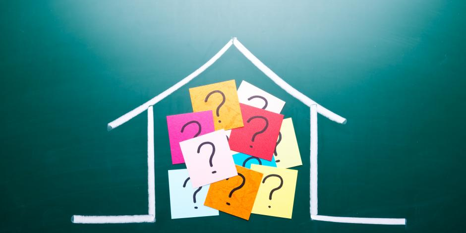 Outline of House with Question Mark Sticky Notes